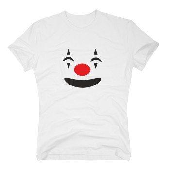 Herren T-Shirt mit Clownsgesicht - weiß