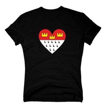 Herren T-Shirt mit Kölnwappen in Herzform - schwarz