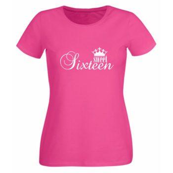 Zum 16. Geburtstag - Damen T-Shirt Sweet Sixteen pink
