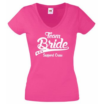 Team Bride Support Crew - Damen T-Shirt mit V-Ausschnitt - pink
