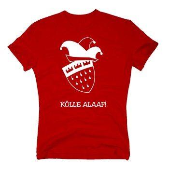 Kölle Alaaf! - Herren T-Shirt mit Kölnwappen und Karnevalshut - rot