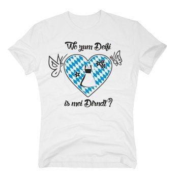 Wo zum Deifi is mei Dirndl? - Unisex T-Shirt - weiß