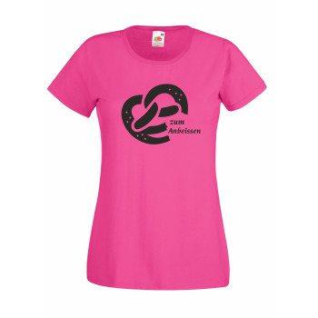 Zum Anbeissen - Damen T-Shirt mit Brezel - pink