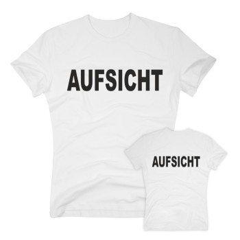 Aufsicht - Herren T-Shirt beidseitig bedruckt - weiß