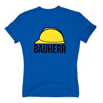 Bauherr - Herren T-Shirt mit Bauhelm - blau