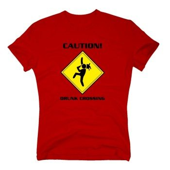Caution! Drunk Crossing - Herren T-Shirt - rot