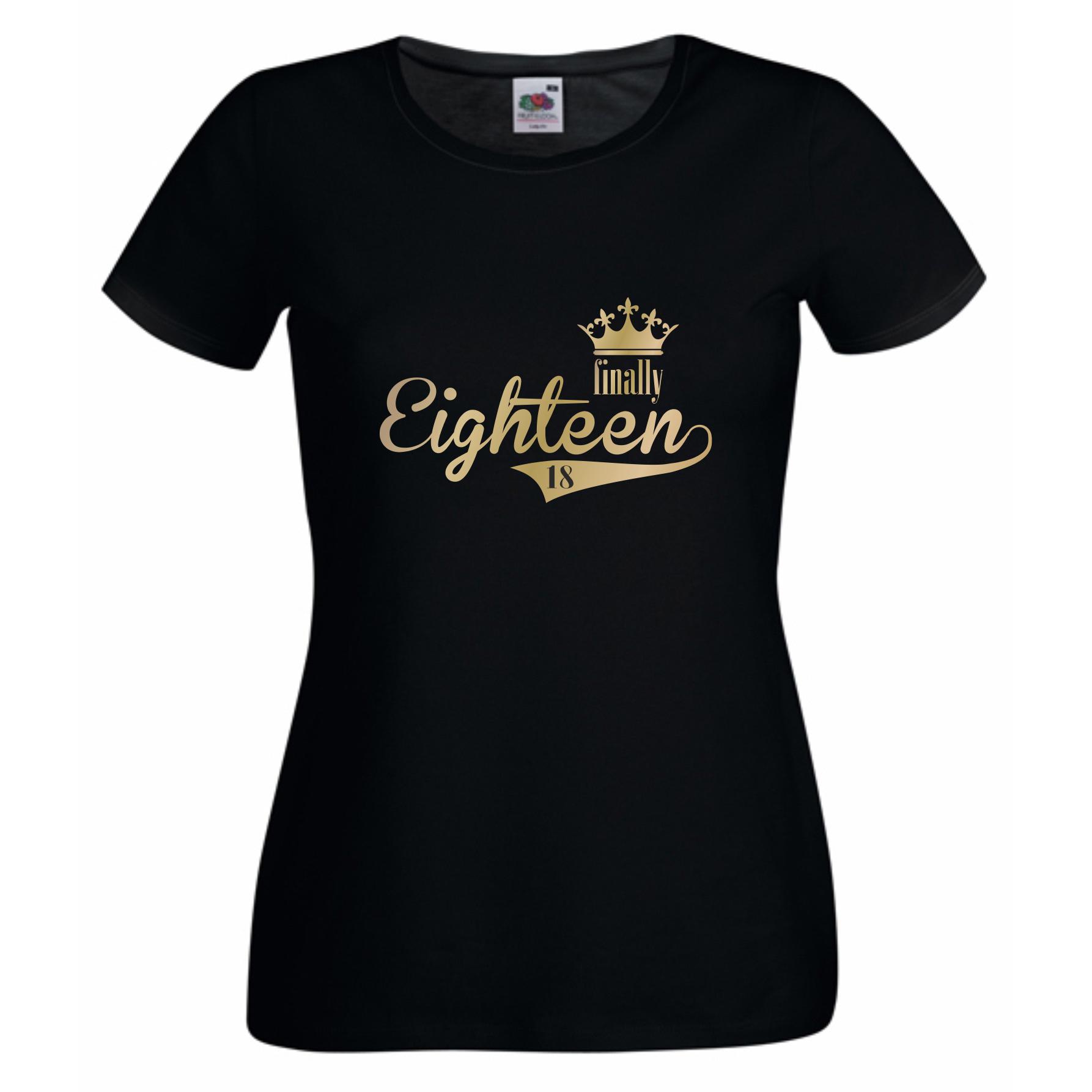 damen t shirt finally eighteen endlich 18 shirt. Black Bedroom Furniture Sets. Home Design Ideas