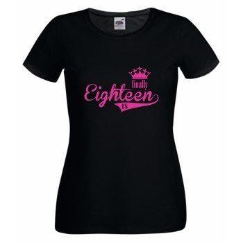 T-Shirt zum 18. Geburtstag - Damen T-Shirt Finally Eighteen