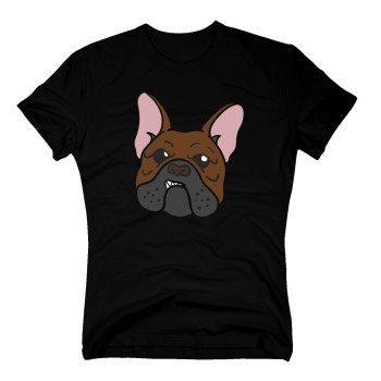 Herren T-Shirt mit Bulldoggenkopf - schwarz
