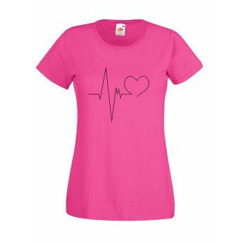 Damen T-Shirt mit Herzschlag - pink