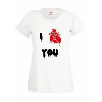 "I ""Herz"" you - Halloween Damen T-Shirt - weiß"