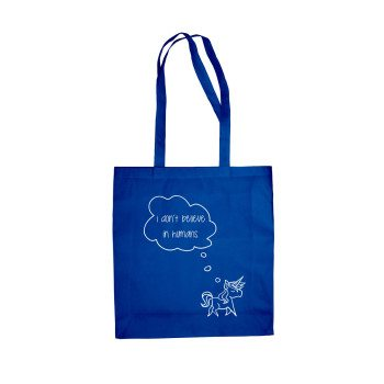 I don't believe in humans - Baumwolltasche Jutebeutel Baby-Einhorn blau