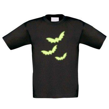 Kinder T-Shirt mit Fledermäusen - schwarz, Motiv leuchtet im Dunkeln