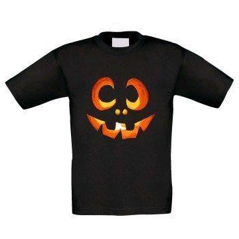 Kinder T-Shirt mit Kürbisgesicht - schwarz