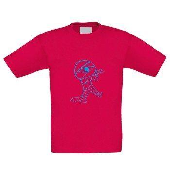 Kinder T-Shirt mit Mumie - pink-blau