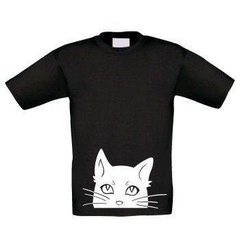Kinder T-Shirt mit Katze - schwarz-weiß