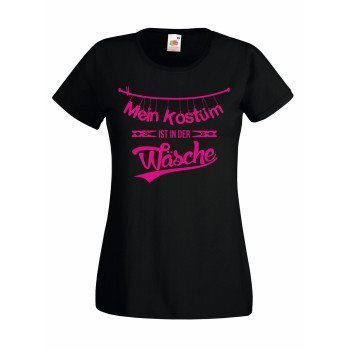 Mein Kostüm ist in der Wäsche - Damen T-Shirt - schwarz-pink