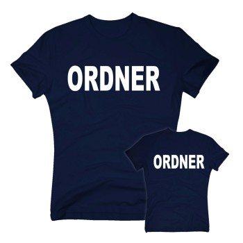 Ordner - Herren T-Shirt beidseitig bedruckt - dunkelblau-weiß