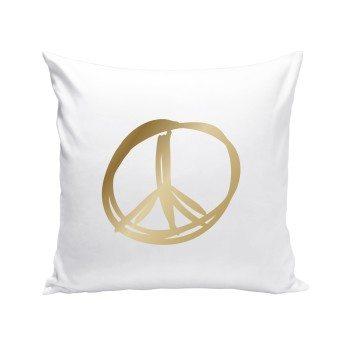 weißes Dekokissen mit goldenem Peace Zeichen