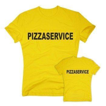 Pizzaservice - Herren T-Shirt beidseitig bedruckt - gelb