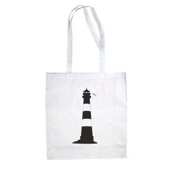Leuchtturm - Jutebeutel - weiß-schwarz