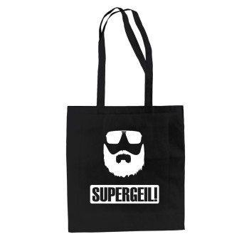 Supergeil - Jutebeutel - schwarz-weiß