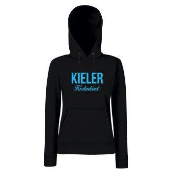 Kieler Küstenkind - Damen Hoodie - schwarz-blau
