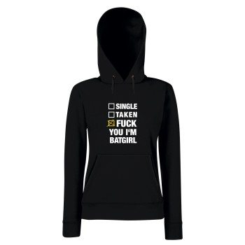 Single, Taken, Fuck You I'm Batgirl - Damen Hoodie - schwarz-weiß