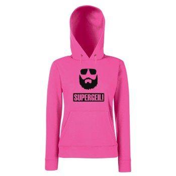Supergeil - Damen Hoodie - pink-schwarz