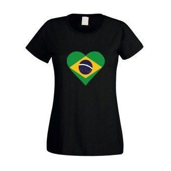 Damen T-Shirt mit Brasilienflagge in Herzform - schwarz
