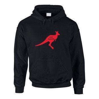 100% Aussie - Herren Hoodie mit Känguru - schwarz-rot