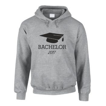 Bachelor 2017 - Herren Hoodie mit Doktorhut - grau-schwarz