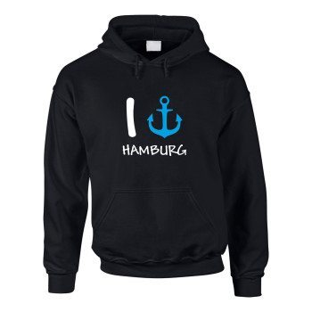"""I """"anker"""" Hamburg - Herren Hoodie - schwarz-blau"""