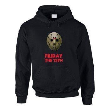 Friday the 13th - Herren Hoodie mit Jasonmaske - schwarz