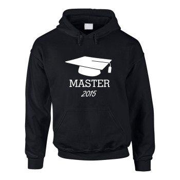 Master 2015 - Herren Hoodie mit Doktorhut - schwarz-weiß