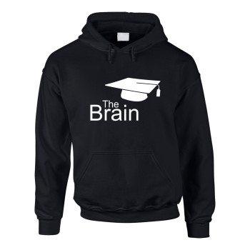 The Brain - Herren Hoodie mit Doktorhut - schwarz-weiß