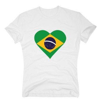 Herren T-Shirt mit Brasilienflagge in Herzform - weiß