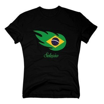 Selecao - Herren T-Shirt mit Brasilienflagge in Flammenform - schwarz