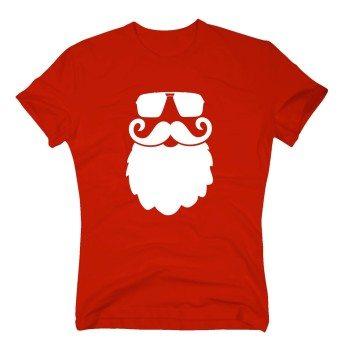 Weihnachtsmannkopf mit Sonnenbrille - Herren T-Shirt - rot