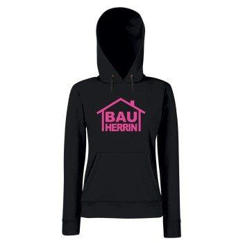 Bauherrin - Damen Hoodie - schwarz-pink