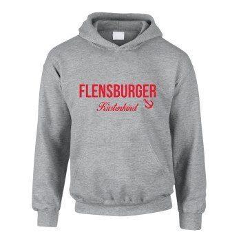 Flensburger Küstenkind - Kinder Hoodie - grau-rot