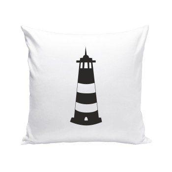 Leuchtturm - Dekokissen - weiß-schwarz