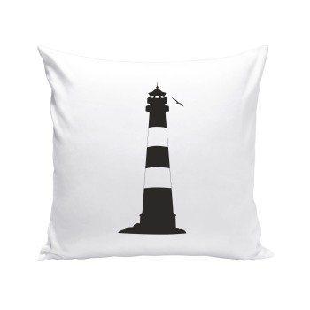 Leuchtturm mit Möwe - Dekokissen - weiß-schwarz