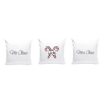Mr. & Mrs. Claus - 3er Set Dekokissen mit Weihnachtsmotiv - weiß