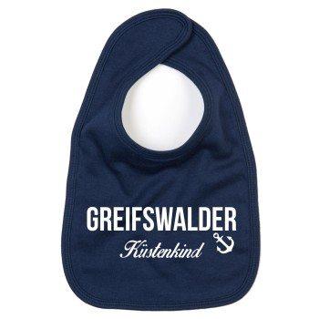 Greifswalder Küstenkind - Baby Lätzchen - dunkelblau-weiß