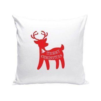 Merry Christmas - Dekokissen mit Rentier - weiß-rot