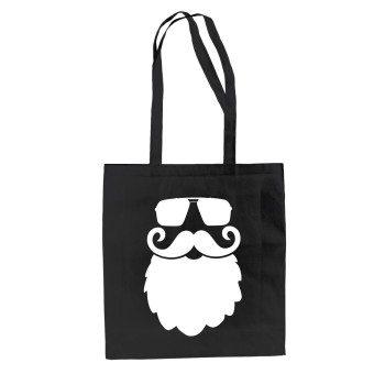 Hipster Weihnachtsmann mit Sonnenbrille - Jutebeutel - schwarz