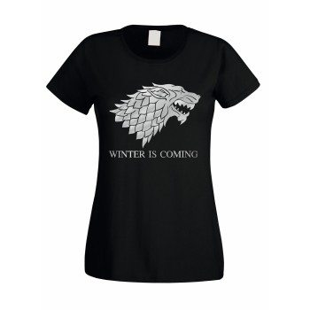 Winter is coming - Damen T-Shirt mit Schattenwolf - schwarz-silber