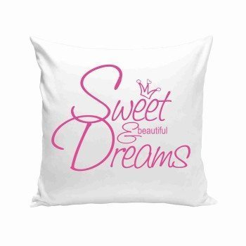 Sweet & Beautiful Dreams - Dekokissen - weiß-pink