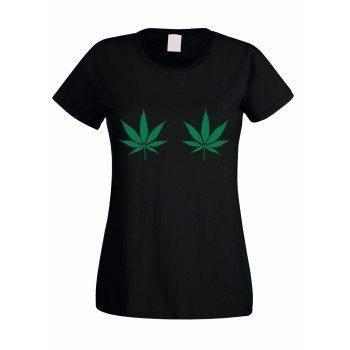 Damen T-Shirt mit zwei Hanfblättern - schwarz